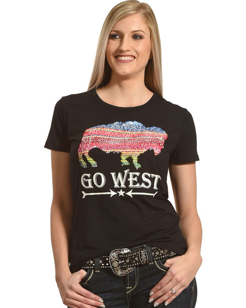 Angel Premium Women's Two-Way Sequin Go West Tee, Black, hi-res