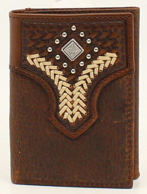 Nocona Lacing Diamond Concho Tri-Fold Wallet, Med Brown, hi-res