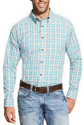 Ariat Men's Turquoise Emmett Shirt - Big and Tall, Turquoise, hi-res