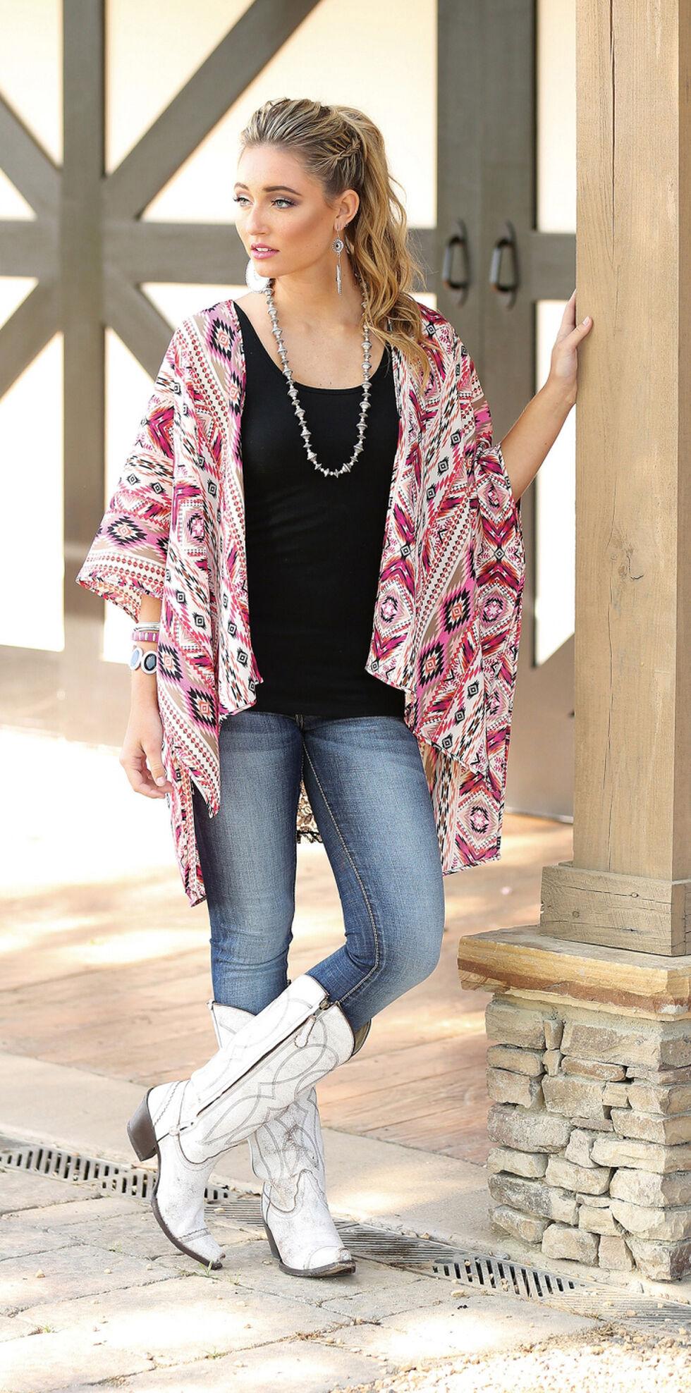 Wrangler Rock 47 Women's Kimono Lace Inset Cardigan , Fuchsia, hi-res