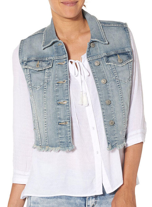 Silver Women's Denim Vest with Fray, Indigo, hi-res