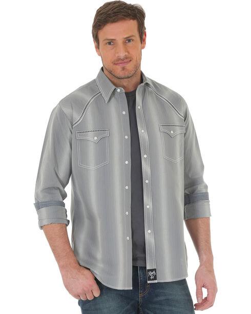 Wrangler Rock 47 Men's Vertical Stripe Long Sleeve Snap Shirt - Big & Tall, Grey, hi-res