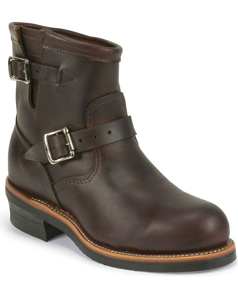 "Chippewa Men's Cognac 7"" Engineer Boots - Steel Toe, Cognac, hi-res"