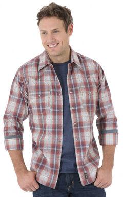 Wrangler Retro Men's Blue and Rust Plaid Western Shirt , Blue, hi-res