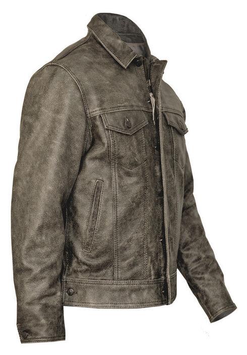 STS Ranchwear Men's Maverick Rustic Black Leather Jacket - 2XL & 3XL, Black, hi-res