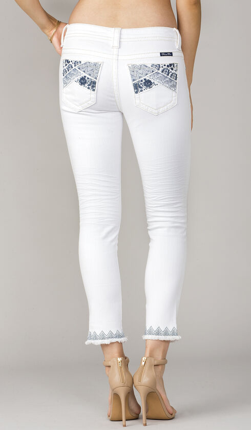 Miss Me Womens' Women Midrise Embroidered Jeans - Skinny, White, hi-res