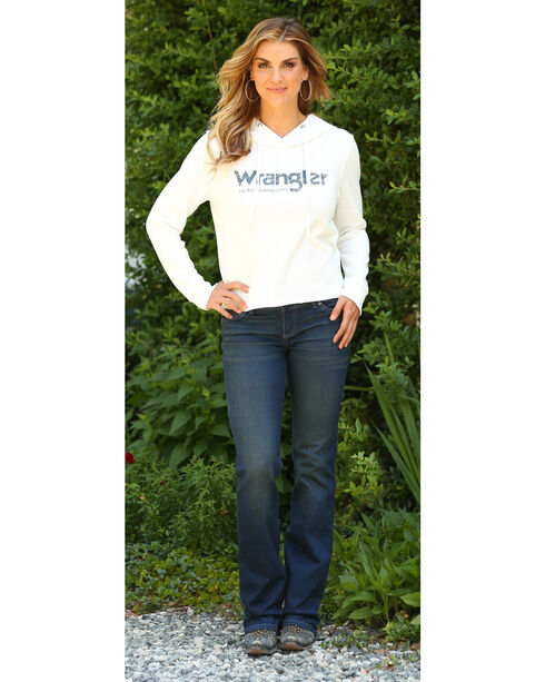 Wrangler Women's Raw Edge Hem Hoodie, Oatmeal, hi-res