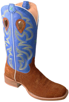 Twisted X Royal Blue Ruff Stock Cowboy Boots - Square Toe , Cognac, hi-res