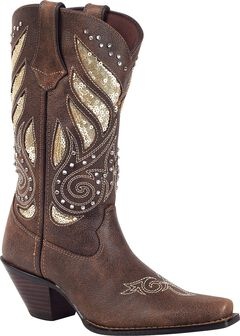 Durango Crush Sequin Inlay & Studded Cowgirl Boots - Snip Toe, , hi-res