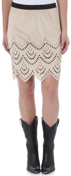 Wrangler Women's Short Faux Suede Laser Cut Skirt, Sand, hi-res