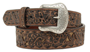 "Nocona 1 7/8""- 1 1/2"" Emobossed Overlay Belt, Brown, hi-res"