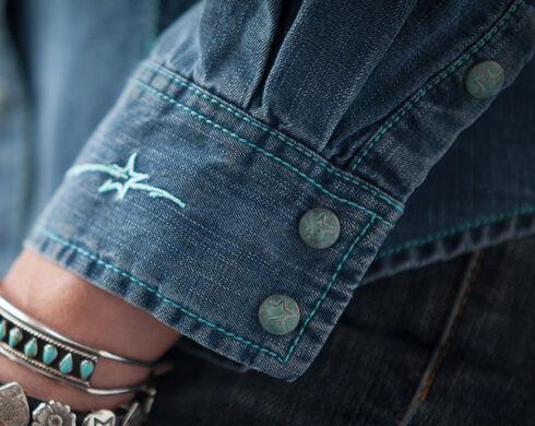 Ryan Michael Women's Indigo Saw Tooth Pocket Tencel Shirt, Indigo, hi-res