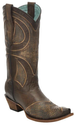 Corral Distressed Brown Laser-Cut Cowgirl Boots - Snip Toe, Brown, hi-res