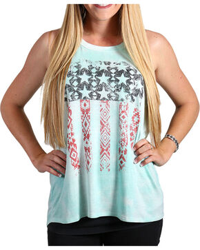Shyanne Women's Distressed Aztec Flag Tank Top, Multi, hi-res