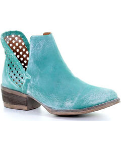 Corral Women's Turquoise Cutout Shortie Boots - Round Toe, Turquoise, hi-res
