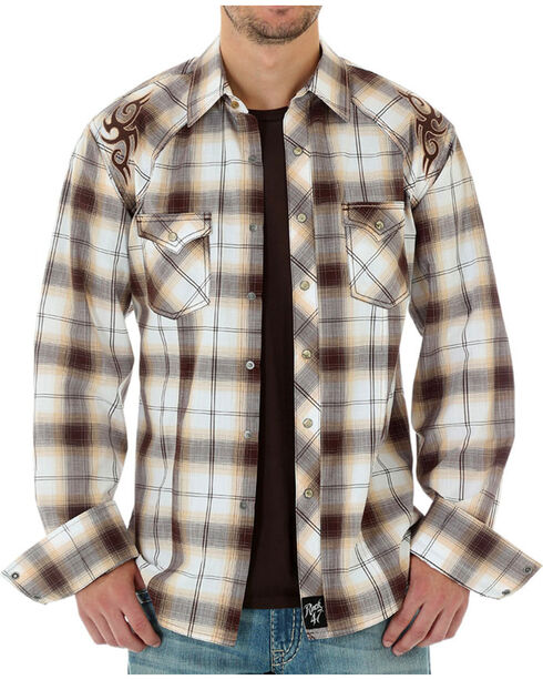 Wrangler Rock 47 Men's Plaid Long Sleeve Shirt , White, hi-res