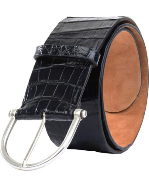 Lucchese Women's Black Ultra Belly Caiman Belt , Black, hi-res
