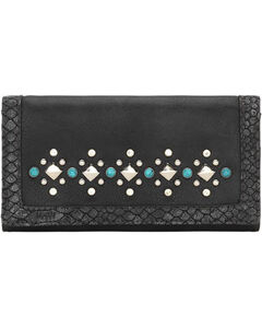Bandana Women's Guns & Roses Flap Wallet , Charcoal, hi-res