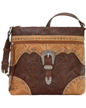 American West Women's Saddle Ridge Zip Top Shoulder Bag , Chestnut, hi-res