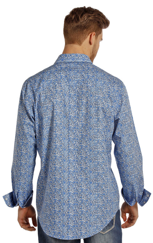 Rock and Roll Cowboy Men's Blue Swirl Two Pocket Snap Western Shirt, Blue, hi-res