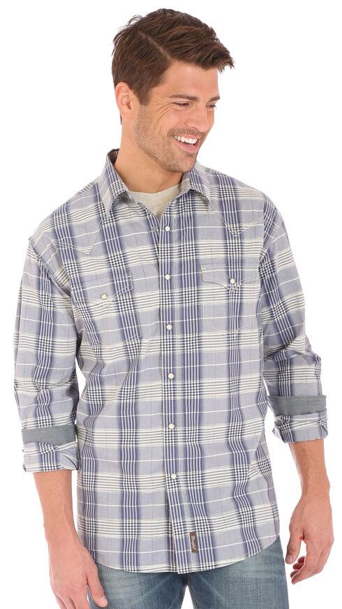 Wrangler Retro Men's Contrast Trim Long Sleeve Snap Shirt, Blue, hi-res