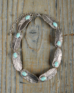 Shyanne Women's Feather Turquoise Stone Necklace, Turquoise, hi-res