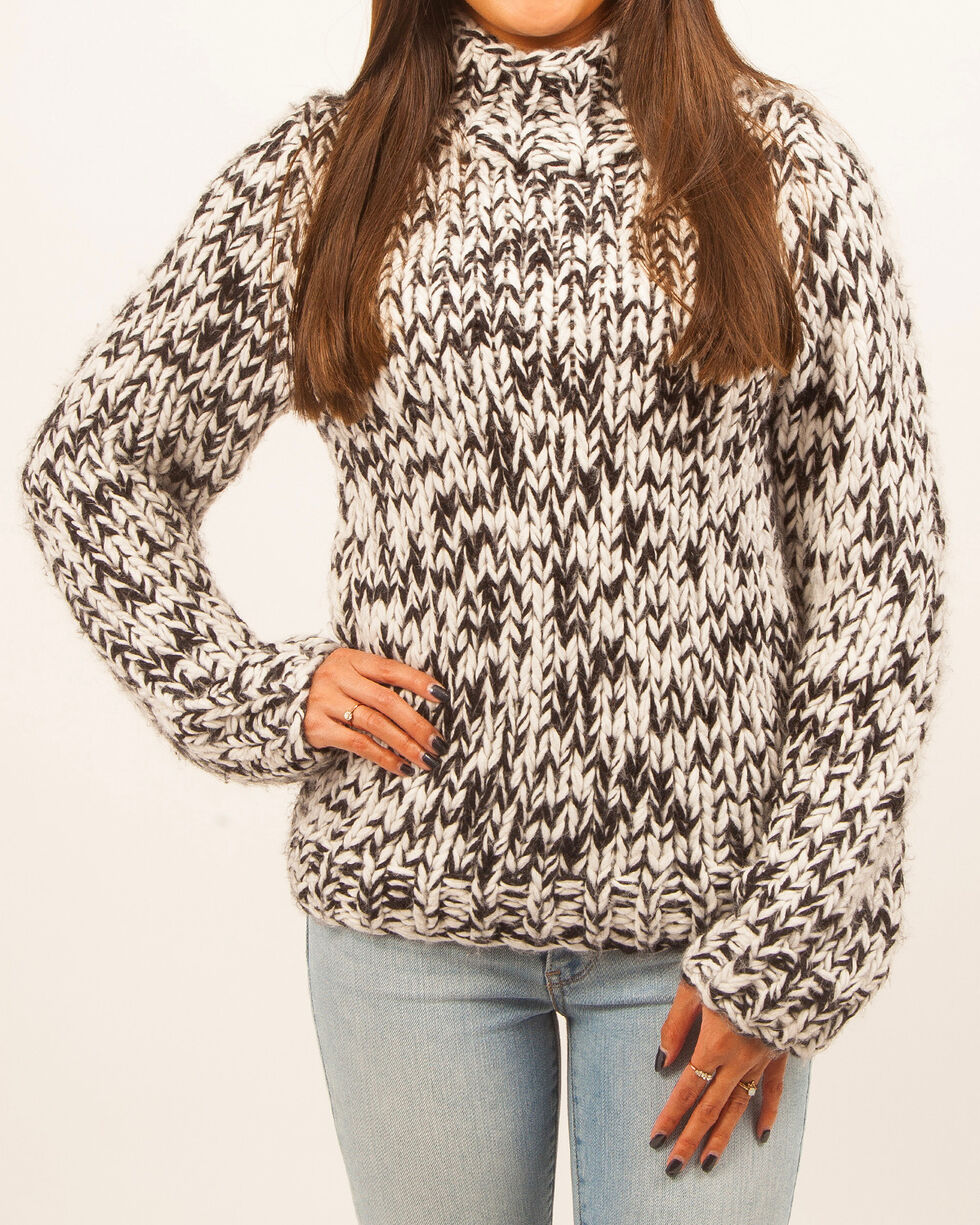 White Crow Women's Chunky Marled Sweater, Black, hi-res