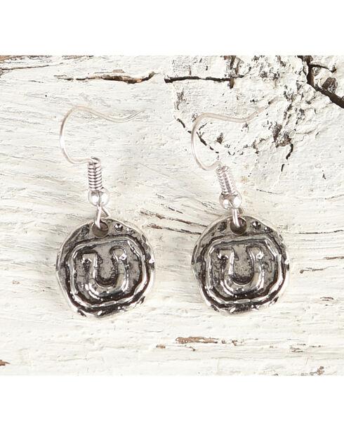 Shyanne Women's Horseshoe Stamped Dangle Earrings, Silver, hi-res