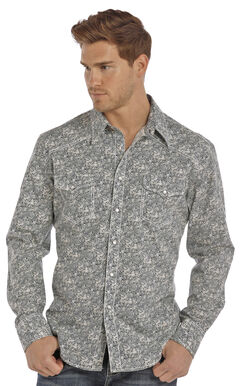 Rock & Roll Cowboy Men's Navy Crinkle Poplin Paisley Print Shirt , Green, hi-res