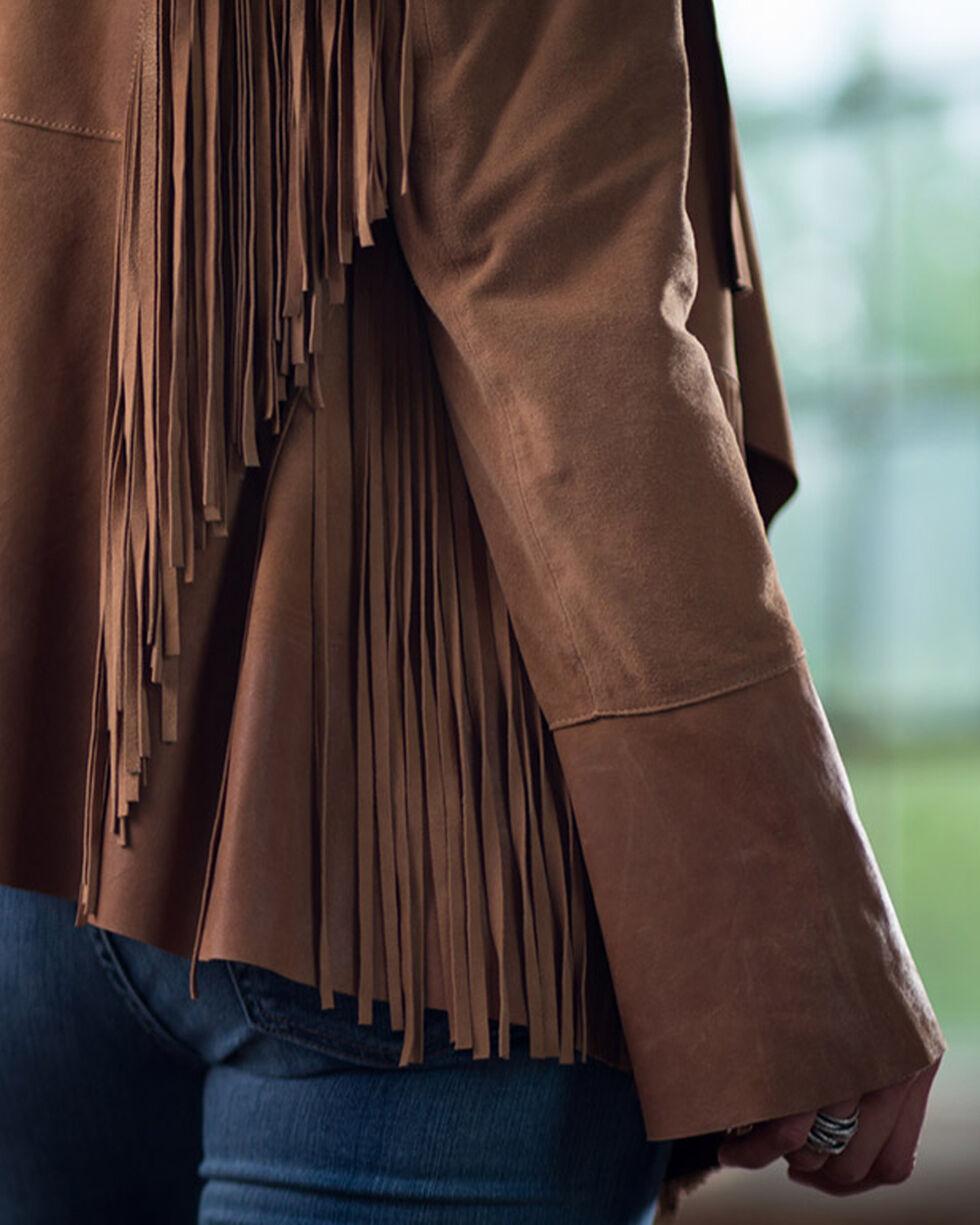 Ryan Michael Women's Drape Front Fringe Jacket, Cognac, hi-res