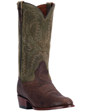 Dan Post Men's Cowboy Boots - Round Toe , Chocolate, hi-res