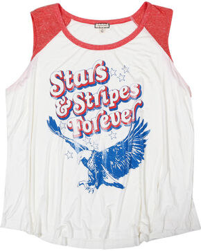 Eyeshadow Women's Stars & Stripes Forever Graphic Tank - Plus, Off White, hi-res