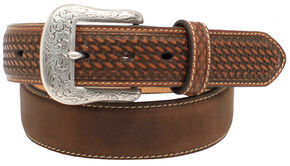 "Ariat 1 1/2"" Basket Weave Tab Belt, Aged Bark, hi-res"