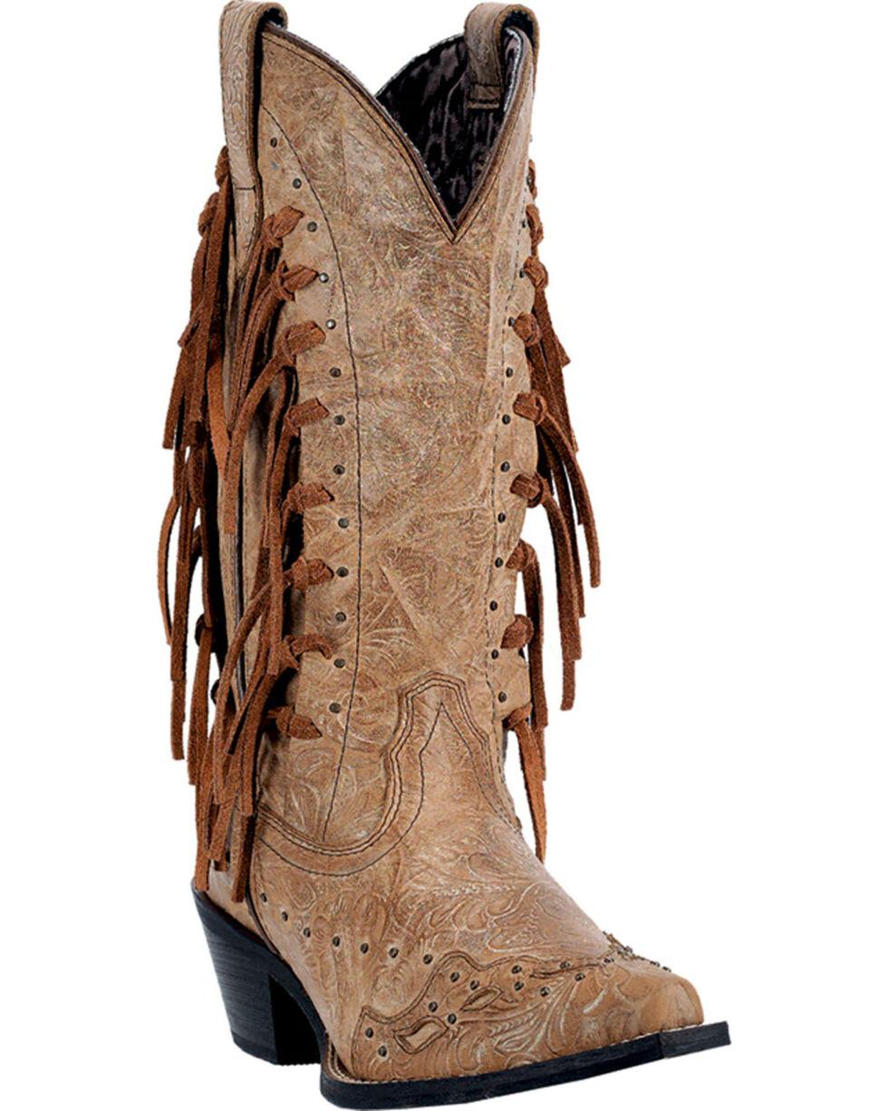 Laredo Tygress Fringe Cowgirl Boots - Snip Toe, Camel, hi-res