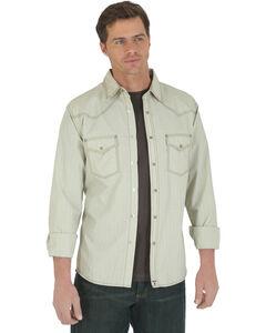 Wrangler 20X Men's Khaki Dobby Long Sleeve Snap Shirt, Khaki, hi-res