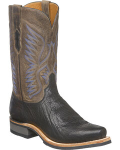 Lucchese Men's Cooper Black Bull Shoulder Western Boots - Square Toe, Black, hi-res