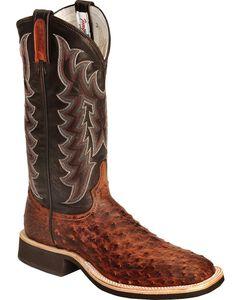 Tony Lama Vintage Full Quill Ostrich Crepe Cowboy Boots - Wide Square Toe, , hi-res