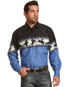 Ely Cattleman Men's Bronco Rider Border Print Shirt - Tall, Black, hi-res