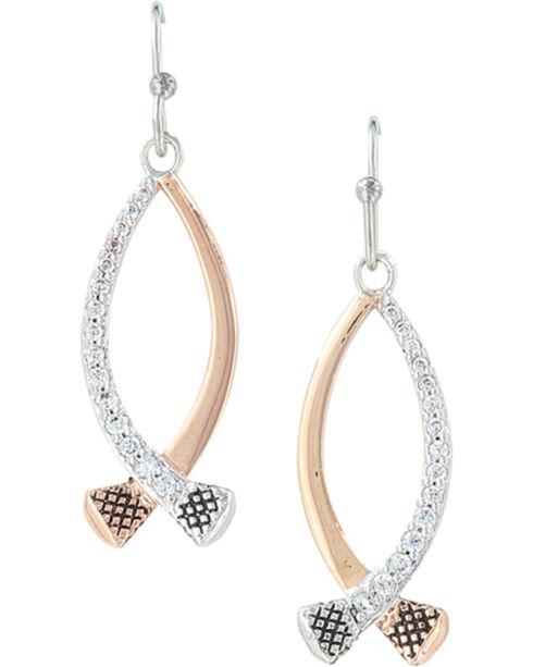 Montana Silversmiths Women's Silver Crossing Paths Horseshoe Nail Earrings , Silver, hi-res