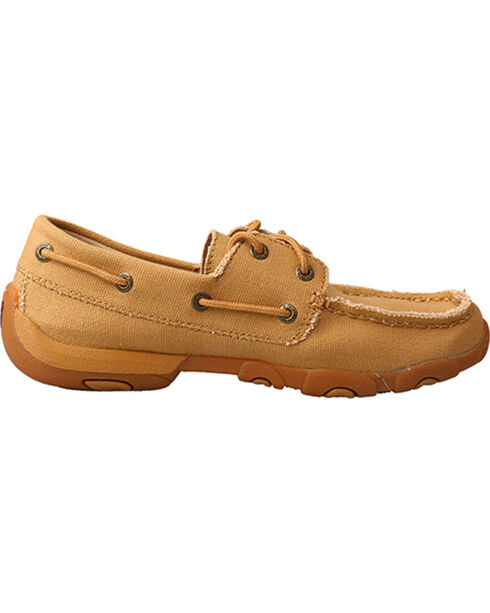 Twisted X Women's Canvas Driving Moccasins - Moc Toe, Tan, hi-res