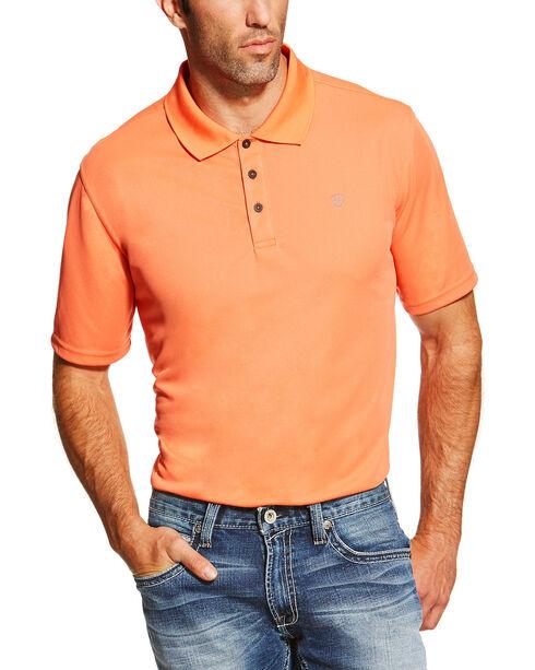 Ariat Men's Heat Series Tek Camelia Polo , Orange, hi-res