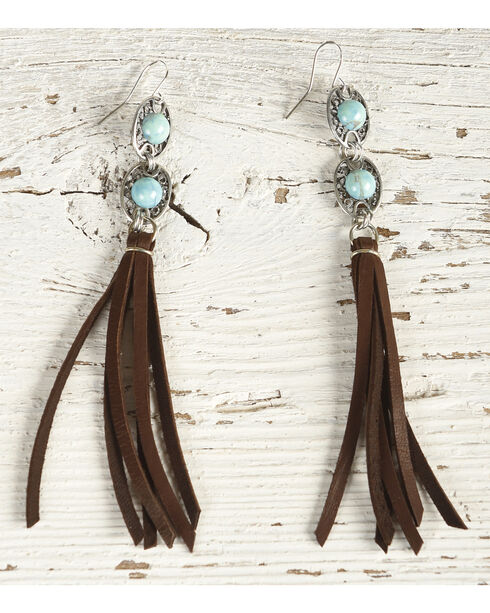 Cowgirl Confetti Women's Brown Trail Ride Fringe Earrings , Brown, hi-res