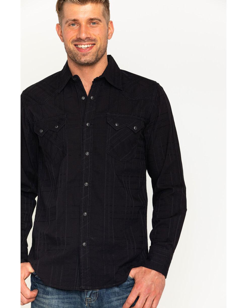 Jack Daniel's Men's Black Tonal Stripe Logo Western Shirt , , hi-res