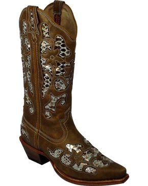 Twisted X Steppin' Out Fancy Metallic Inlay Cowgirl Boots - Snip Toe, Tan, hi-res