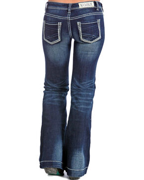 Rock & Roll Cowgirl Women's Dark Vintage Wash Low Rise Trouser Jeans - Boot Cut, Dark Blue, hi-res