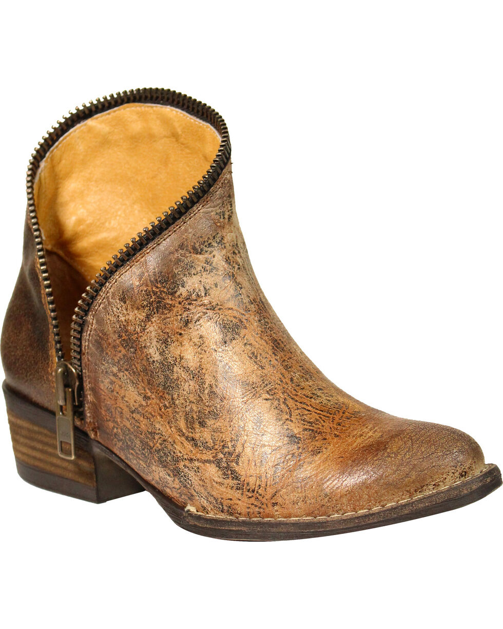 Circle G Women's Distressed Zipper Ankle Boots - Round Toe , Tan, hi-res