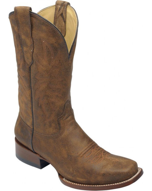 Corral Men's Brown Distressed Goat Leather Boots - Sq Toe , Tan, hi-res