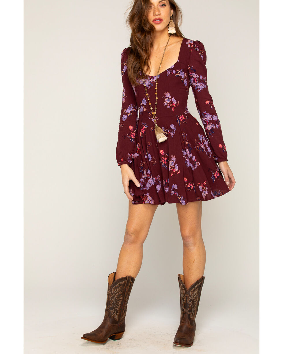 Shyanne Women's Floral Long Sleeve Dress, Purple, hi-res