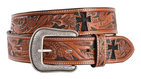 3D Hair-on-Hide Inlay Cross Tooled Leather Belt, Multi, hi-res