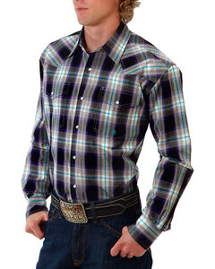 Roper Men's Purple Plaid Long Sleeve Snap Shirt, Purple, hi-res